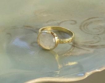 14k  Blue Flash Moonstone Ring