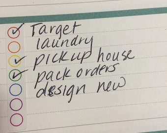 rainbow dot checklist for HORIZONTAL EC layout stickers for planners, journals, scrapbooks and more!
