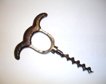 Corkscrew - Leather Covered Three Finger Pull - 19th century