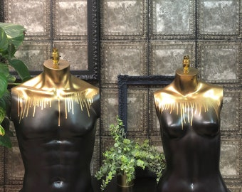 Black and gold drip lamps