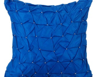 Royal Blue Throw Pillows for Bed 18x18 Pillow Covers Taffeta Embroidered Throw Pillows Covers - Royal Blue Texture