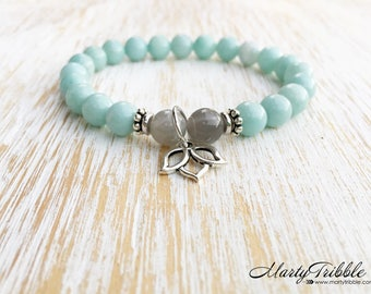 Lotus Bracelet, Amazonite Labradorite Bracelet, Mala Beads Bracelet, Gemstone Bracelet, Boho Bracelet, Buddhist Jewelry, Healing Bracelet
