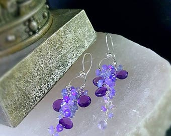 Ultra Violet Opals Tanzanite and Amethyst long Cluster Earrings Bridal Jewelry Gift for Her