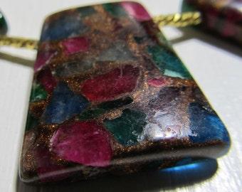 Jasper Beads 27 x 24mm Natural Multi Colored Jasper Cloisonne Flat Trapezoid Pendants -  4 Pieces