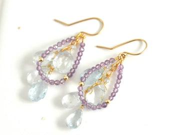 Aquamarine Earrings, Amethyst Earrings,  March Birthstone earrings, Blue stone Earrings, February Birthstone Gift, Gift For Her,