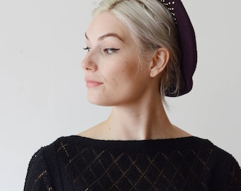 70s/80s Purple Wool Beret with Metal Studs