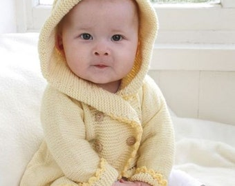 Baby cardigan with hood, 100% wool (merino wool)