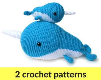 Narwhal crochet patterns - two amigurumi patterns, narwhal amigurumi pattern, cute narwhal pattern, cute crochet pattern, whale pattern