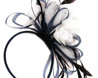 Navy Blue Hoop & White Feathers Fascinator Headband Ascot Wedding
