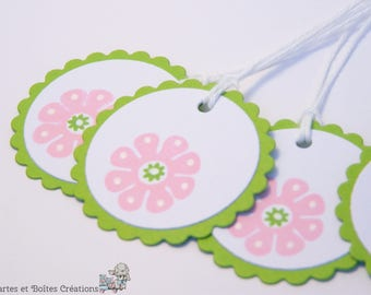 Set of 12 Easter - spring pink - free shipping flower gift tags