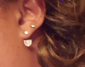 Sterling Silver and CZ Earring Jacket
