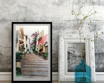 Personalized watercolor, hand painted, original watercolor, watercolor painting-landscape/Alleys #1-Gargnano (Lake Garda)