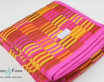 SALE baby quilt blanket playmat STRIPES  marimekko red burgundy gold pink organic ready to ship only 1