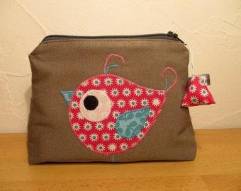 Pouch / clutch Brown bird pink