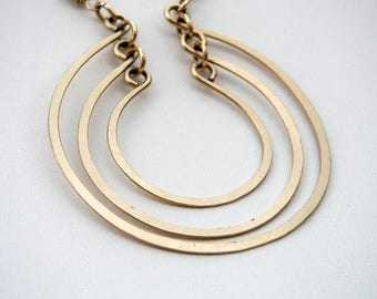 Gold Open Circles Pendant 3 Circles Necklace Layered Rings Pendant Hammered Wire Jewelry Gold Chain Necklace