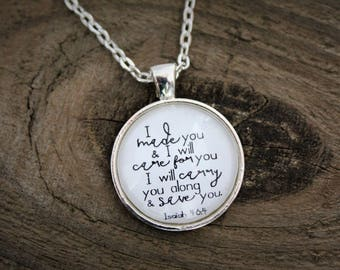 """Silver """"Isaiah 46:4"""" Pendant Necklace"""