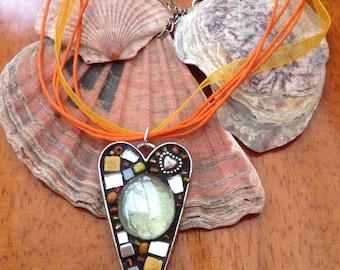Orange Heart Mosaic Necklace Pendant