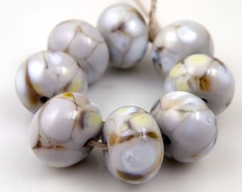 Moonstone SRA Lampwork Handmade Artisan Glass Donut/Round Beads Made to Order Set of 8 8x12mm