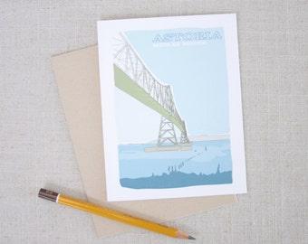 Astoria Megler Bridge Illustrated Note Card  // Oregon Note Card // Modern Illustration