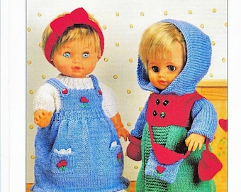 Doll Clothes Knitting Pattern to fit 12 to 22  inch tall dolls instant download knitting pattern