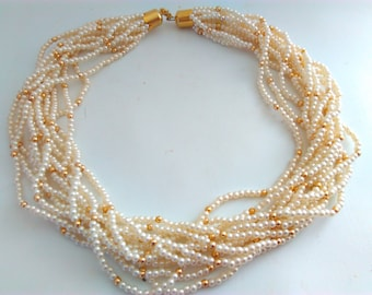 vintage, 12 strand necklace, multi strand pearl necklace, pearl necklace, vintage necklace, wedding, bride, wedding necklace, bridal