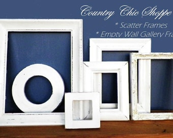 White Shabby Chic Frame Set of 6 for Your Empty Wall Gallery * Scatter Frames * Distressed Rustic * Upcycled Wall Decor