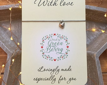 "3D Heart charm String Bracelet on ""With Love"" quote card madebygreenberry wish bracelet"