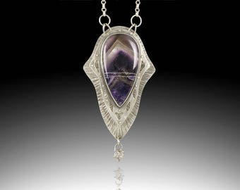 Phantom Amethyst and Sterling Silver Necklace with Herkimer Dangle ~ Layered One of a Kind, Artisan Made Shield Pendant