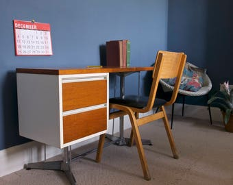Italian Mid Century Modern Desk with Chrome Frame
