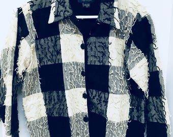 Vintage Black & White CHECKERED EYELASH JACKET by Life Style (1980s)