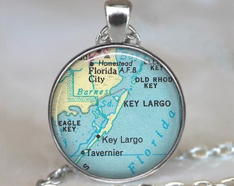 Florida Keys map pendant, Key Largo necklace, Key Largo pendant, Key Largo map charm, Upper Keys map keychain