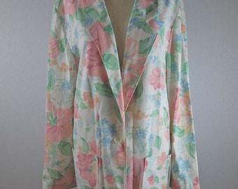 80s 90s Oversized Pink Floral Blazer