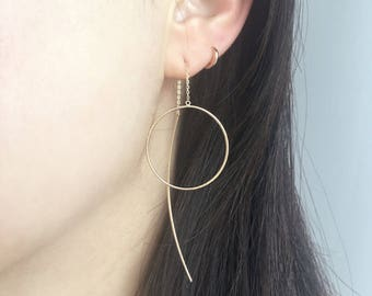 14K Solid Gold Threader Earrings, 14K Long Threader Earrings, 14K Ear Threads, delicate earrings, Minimalist Earrings