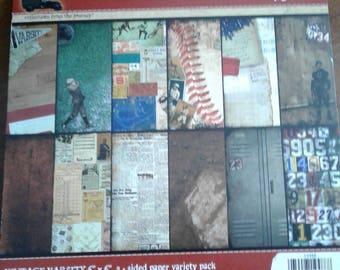 7gypsies | Vintage Varsity | 6 x 6 | 2 Sided Variety Pack | 48 Sheets