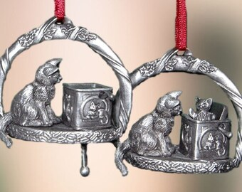 Pewter Cat Christmas Ornament