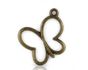Set of 10 Butterfly bronze butterfly (A33) charms