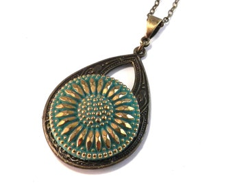 Antique Button Necklace - Spring Mint Green Blossom - Brass Teardrop - Steampunk Victorian Button Jewelry by Compass Rose Design