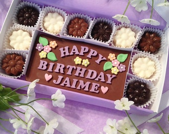 Personalized Birthday Chocolates - Chocolate Birthday Present - Birthday Gift - Gift for Girlfriend - Chocolate Flowers - Gift for Her