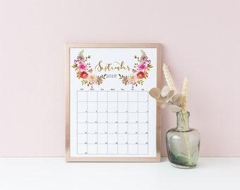 2018 Desk Calendar Printable, Watercolor Floral Calendar Calendar 2018 Printable Wall Pink Calendar Plants Wreaths Calendar Minimalist Gold