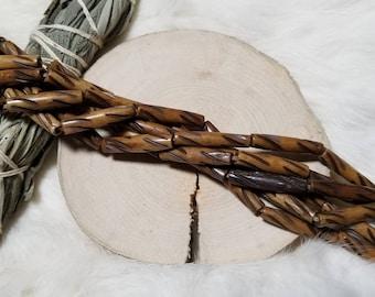 Carved Brown Bone Hair Pipe Beads, 1 Inch, Bone Tube Beads