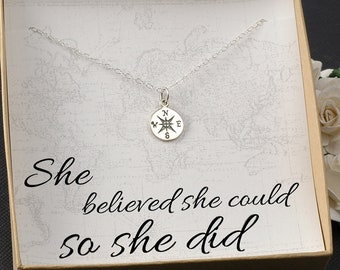 Compass Necklace -  Travel, Miss you, Graduation Gift, Marathon, Mile Stone, New Job -  Silver or Gold Compass Charm