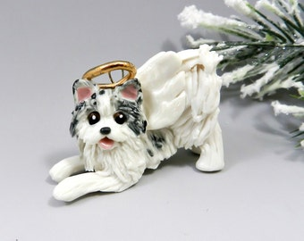 Pomeranian Angel Blue White Christmas Ornament Figurine Porcelain Clearance