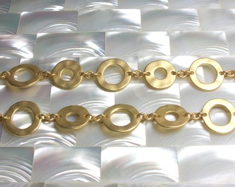 1 Foot Chain Matte Gold Plated Brass Open Link Flat Circle Hammered Texture Sealed Modern Jewelry Jewellery Craft Supplies Fancy