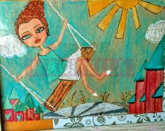 Mixed media girl swinging original painting
