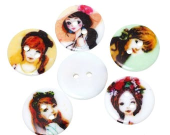 Set of 10 fashionable girls resin buttons