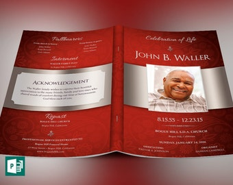 Crimson Dignity Funeral Program Publisher Template