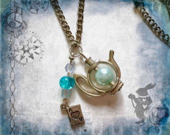 Alice in wonderland long silver teapot tea party necklace