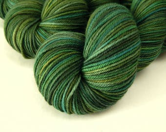 Hand Dyed Yarn, Sport Weight Superwash Merino Wool - Forest Multi - Indie Dyed Knitting Yarn, Green Multicolor Sock Yarn