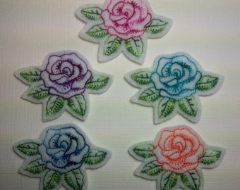 Machine Embroidered Felt -- Five (5) Rose with Leaves Embellishments Appliques for Crafts Hair Bows Clippies Clips -- QUICK TO SHIP