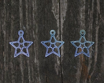 Star Charm, Sterling Silver Charm, Christmas Jewelry Charm, Christmas Charm, Jewelry Making, Double Star Charm, Beads For Jewelry, Supplies